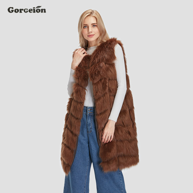 Gorgeion New 2017 Winter Coat Women Whole Peel Faux Fox Fur Vest ...