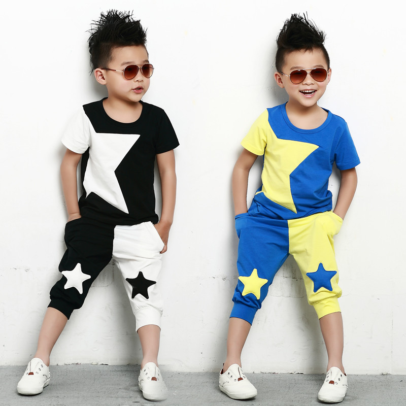 kids  suits twinset spring summer clothing set Boys Costume Black White patchwork star T-shirt & dance Hip Hop harem pants