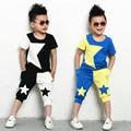 kids Adult suits twinset spring summer clothing set Boys Costume Black White patchwork star T-shirt & dance Hip Hop harem pants