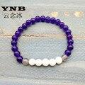 YNB 6mm Purple Jade Natureza Pedras Pulseira com Ônix Cinza & Pedra Tridacna, Pulseira de prosperidade, Chakra do coração, Ataque psíquico