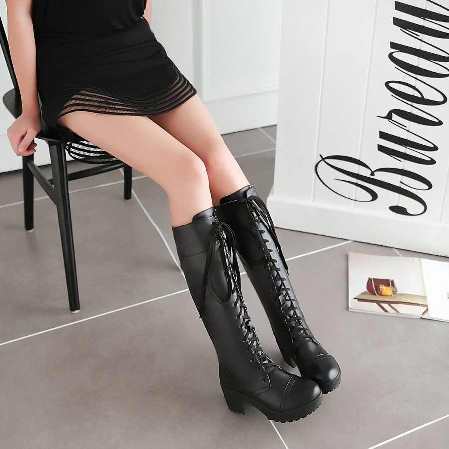 Large Size 34-48 Lace Up Knee High Boots Women Autumn Soft Leather Fashion White Square Heel Woman Shoes Winter long Boots ME-37