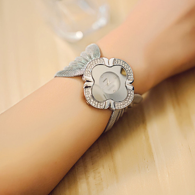 Women Lady Diamond Bracelet Watch Mirror Luxury Quartz Watch Elegant Stainless S