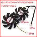 2pcs/lot Firstdo FDC10H12S9-C 85mm 39*39*39mm 12V 0.35A 5Pin For ASUS POSEIDON-GTX770 GTX780 GTX980-P Graphics Card Cooling Fan