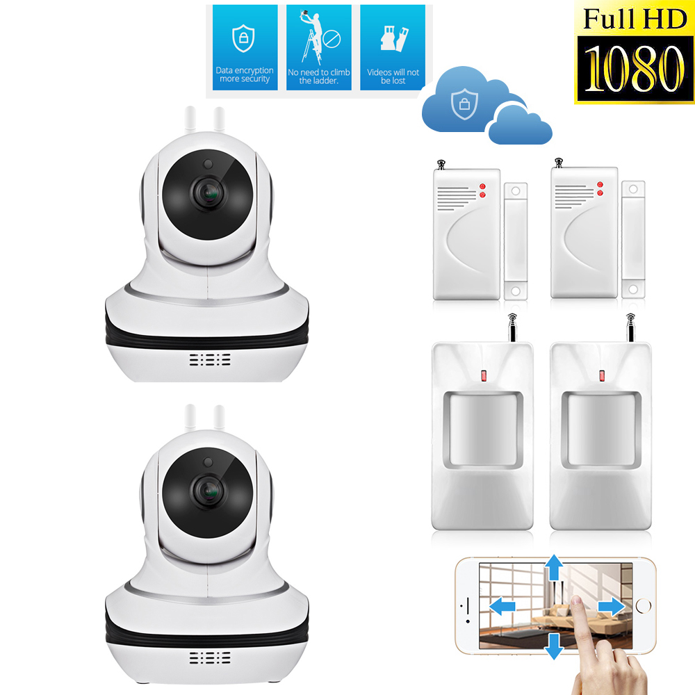 2PCS 1080P FHD Cloud Storage font b Wireless b font Sensors Home Security IP Camera P2P
