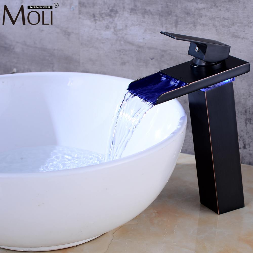 Led Waterfall Sink Faucet Water Temperature Control Oil Rubble Bronze Faucets Hot and Cold Mixer Tap