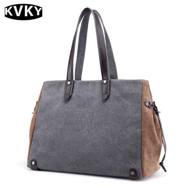 6b25993e6cac KVKY Brand Canvas Women Handbags Vintage Patchwork Casual Women Shoulder  Bags Large Capacity Solid Female Tote