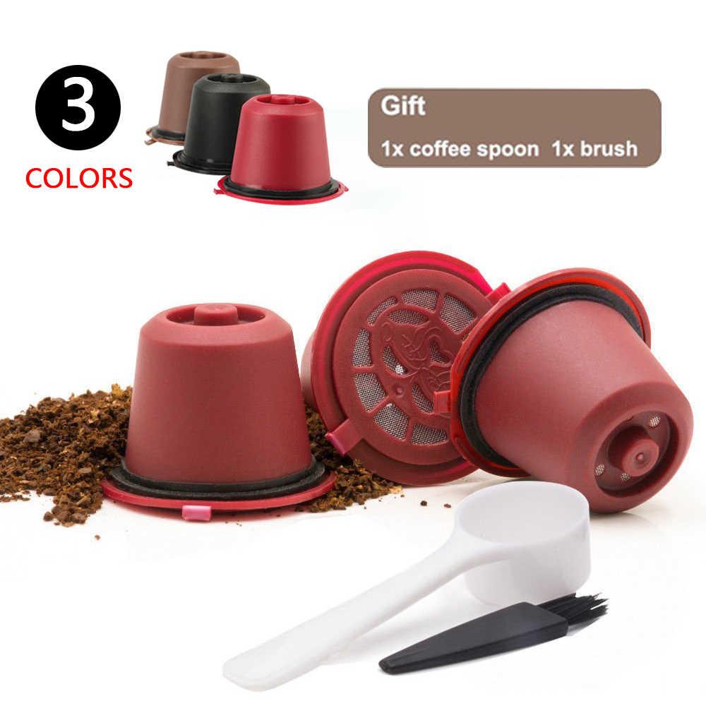3 unidades/pacote Recarregáveis Reutilizável Cápsula de Café Nespresso Pod Filtro De café Com 1 PC Colher De Plástico Para Filtros de Linha Original Siccsaee