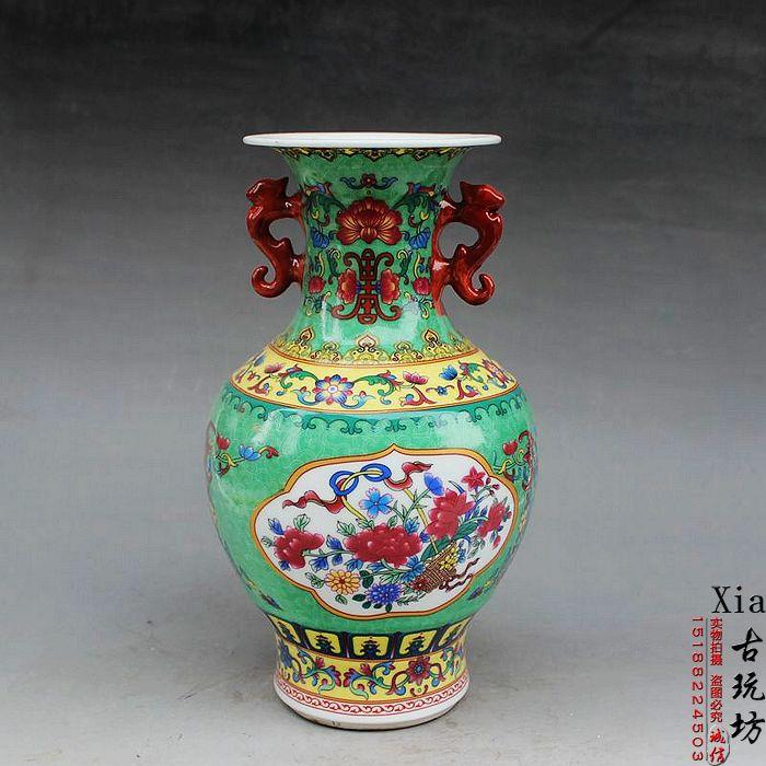 Jingdezhen New Porcelain Pottery, Antique Enamel Color Green Dragon And  Phoenix Ears Vase Home Decoration