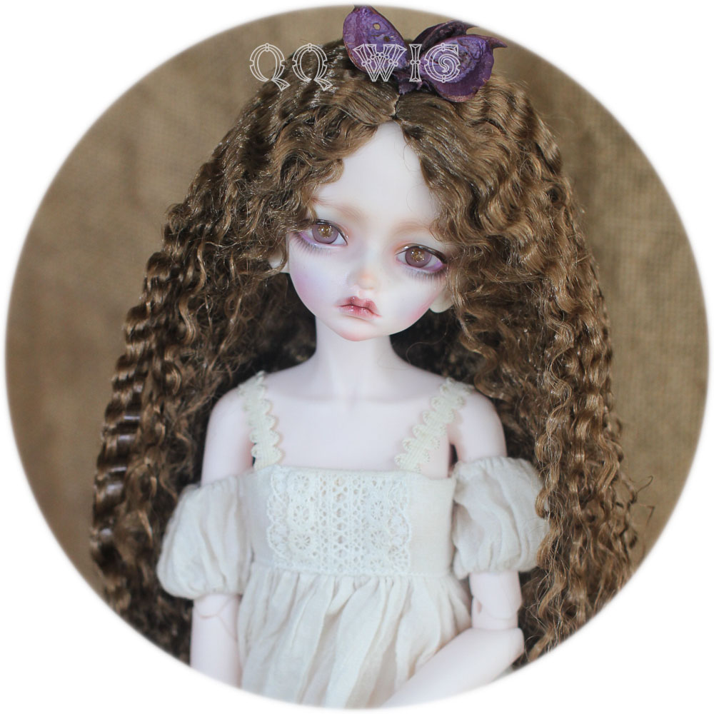 где купить 1/3 Bjd Doll Long Wavy Brown Vintage BJD Wig BJD/SD Mohair Wig Free Shipping по лучшей цене