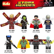 Wholesale 20pcs set Marvel Super Heroes Iron Spider man Captain America Doctor Strange Model Building Blocks