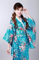 Free Shipping Blue Japanese Vintage Original Tradition Yukata Silk Kimono With Obi Evening Dress One Size