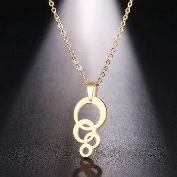 DOTIFI naszyjnik ze stali nierdzewnej dla kobiet mężczyzna koło i koło złoty i srebrny kolorowy wisiorek naszyjnik biżuteria zaręczynowa