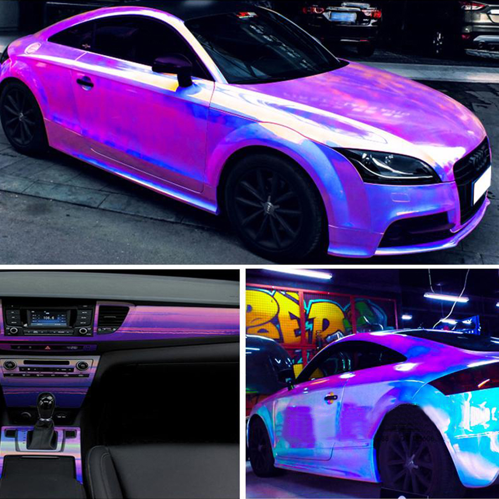 Image 5 - 10cmx100cm Holographic Rainbow Chrome Car Stickers Laser Plating Car Body Wrap Vinyl Film DIY Automobiles Car Styling Decaration-in Car Stickers from Automobiles & Motorcycles