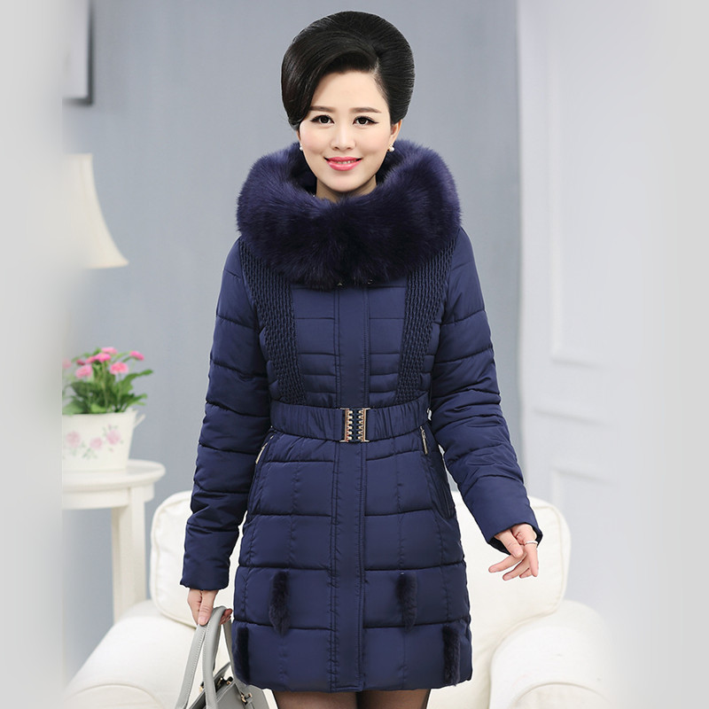 2015 new fashion women winter simple cotton padded jacket female thick warm elegant coat big fur collar hooded outerwear AE314