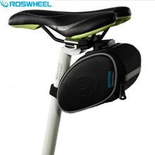 ROSWHEEL Cycling Bike Bag Black Bicycle PU Leather Seat Saddle Rear Bag Quick Release