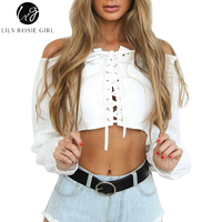 Lily Rosie Girl White Sexy Off Shoulder Lace Up Front Blouse Ruffles Neck Short Slim Elastic