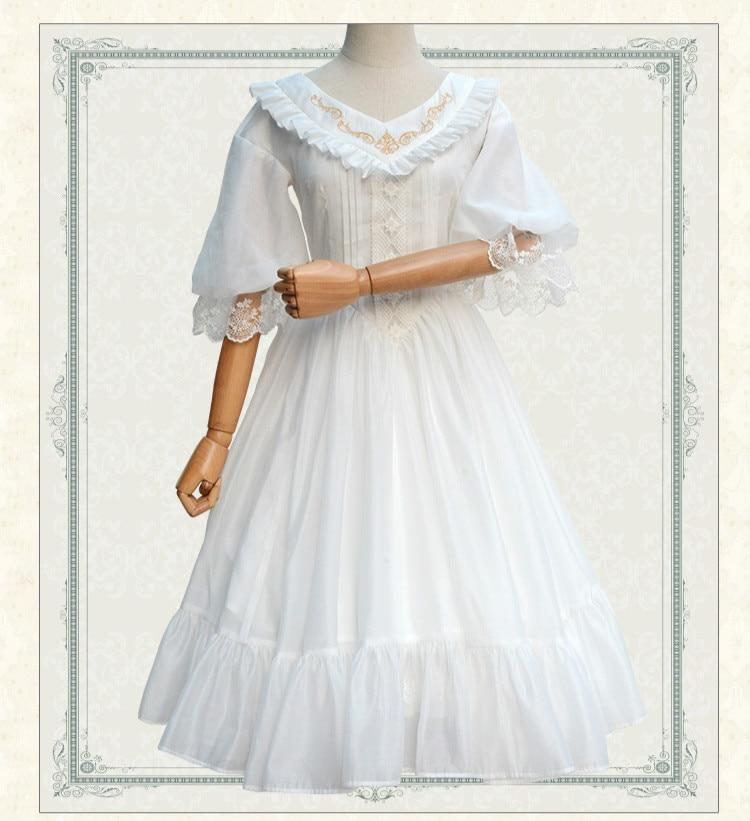 Femmes Lolita Classique Pour Nouveau Noir Blanc Noir D'été Brodé Médiévaux Élégant blanc De En V Costumes Soie Or Doux Mousseline Robe Col w55Tpq