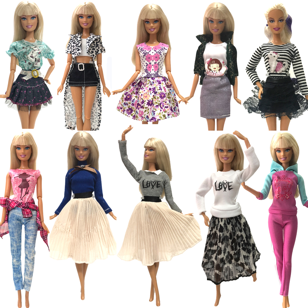 NK 2019 Hot Sale One Set Doll Dress Handmade Clothes  Jeans Pants Fashion Outfit For Barbie Doll Child' Toys Best DIY Gifts JJ