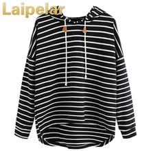 Laipelar 2018 Women Striped Hoodies Plus Size Stripe Casual Sweatshirt Long Sleeve Crop Shirts Jumper Pullover Tops harajuku цена 2017