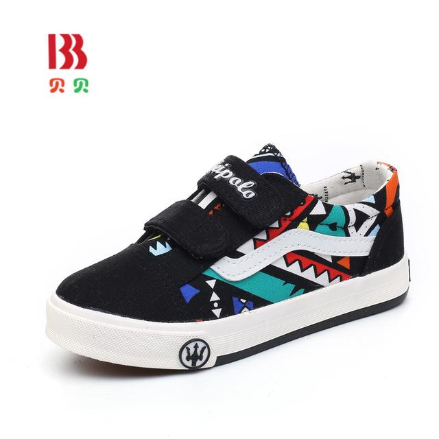 Nuevo llegado niños shoes marca girls canvas shoes moda niños sneakers graffiti niños shoes pisos casual shoes tamaño 24-37