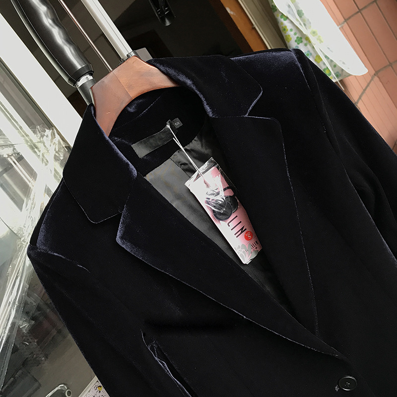 Veste Costumes Manches Lady Slim Velours Plus Bureau 2018 La Taille Costume À Nouveau Automne Bleu Femmes Blue Noir Longues dark Blazers Black Élégant Printemps Blazer 1qawzq