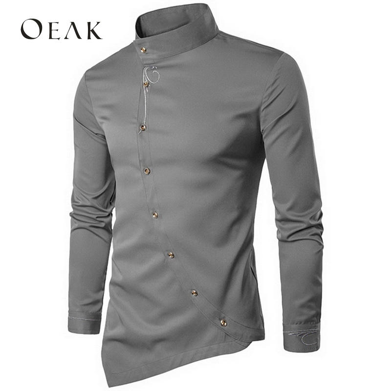Oeak Asymmetry Stand Collar Long Sleeve Embroidery Men Shirt Casual Shirt  Male Cotton Vintage Shirt camisa hombre