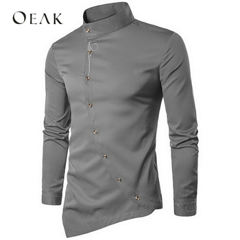Oeak Asymmetry Stand Collar Long Sleeve Embroidery Men Shirt Casual Shirt Fit Male Cotton Vintage Shirt camisa hombre
