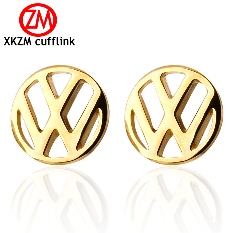 XKZM Jewelry French shirt cufflink for mens brand golden Volkswagen car logo Cuff link Luxury Wedding Button silver High Quality