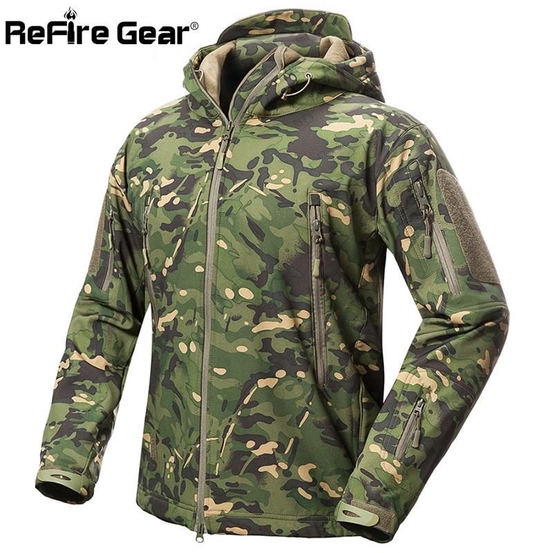ReFire Gear Shark Skin Soft Shell Tactical Military Jacket Men Waterproof Fleece Coat Army Clothes Camouflage Windbreaker Jacket 1