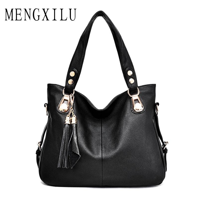 MENGXILU Casual Tassel Handbag Women Bag PU Leather Hobo Bags Famous Brand Ladies Large Capacity with Soft Shoulder Bag
