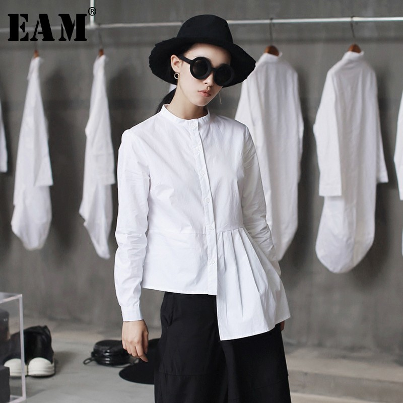[EAM] High Quality 2020 Spring Hem Folds Spliced Irregular Slim Casual Long Sleeve O-neck Shirt Fashion New Women Blouse LA315
