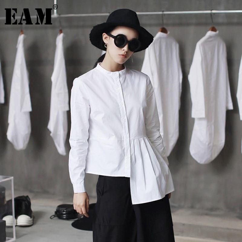 [EAM] High Quality 2020 Spring Hem Folds Spliced Irregular Slim Casual Long Sleeve O-neck Shirt Fashion New Women Blouse LA315