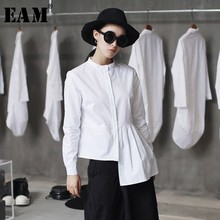 [EAM] wysokiej jakości 2020 wiosna Hem fałdy łączone nieregularna obcisła Casual z długim rękawem koszula z okrągłym dekoltem moda nowych kobiet bluzka LA315