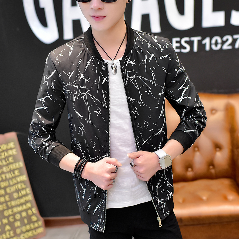 2018 Spring Jacket Men Fashion Print Slim Fit Mens Casual Bomber Jackets Long Sleeve Stand Collar Coat Men Windbreaker Jacket