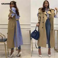 Лидер продаж, корейский и японский стиль, в полоску, в стиле пэчворк, длинные женские зимние пальто m, модный Тренч camel moda mujer invierno