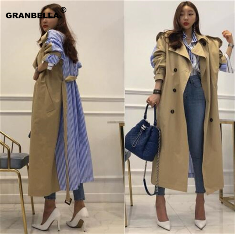 Best selling Korean and japnaess Style Stripe patchworK long women Winter coats m fashion camel   trench   moda mujer invierno