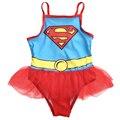 Superman Toddler Kids Swimsuit Super Hero Baby Bodysuit Skirted Jumpsuit One Pieces Sunsuit 2-6Y
