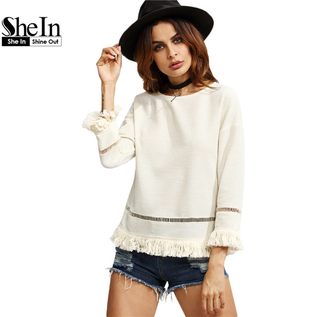 SheIn Women Vintage Blouses For Autumn Ladies Plain White Eyelet Crochet Insert Round Neck Long Sleeve Fringe Trim Top