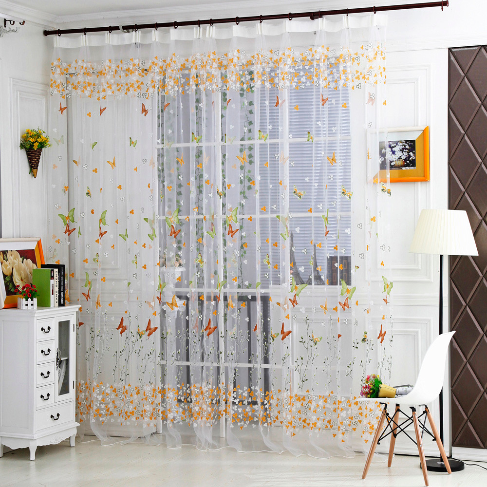 Us 3 38 47 Off Ouneed Butterfly Sheer Curtain Tulle Window Treatment Voile Drape Valance 1 Panel Fabric 30 Roller Blinds 2017 Hot Sale In Curtains