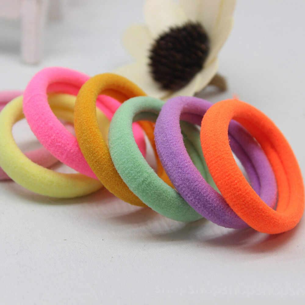 Round hairdressing nylon hair ring 20 Pcs Girl Elastic Hair Ties Band Rope Ponytail Bracelet Rubber String X0424 1 15