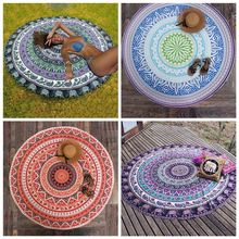 Microfiber Round Beach Towel Indian Mandala Swimming Bath Printed Throw Mat Yoga Blanket Decor