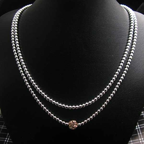 Sterling Silver 925 Jewelry  925 Sterling Silver Jewelry Two Layers Bead Chain Zircon Torques Pendant Necklaces N110
