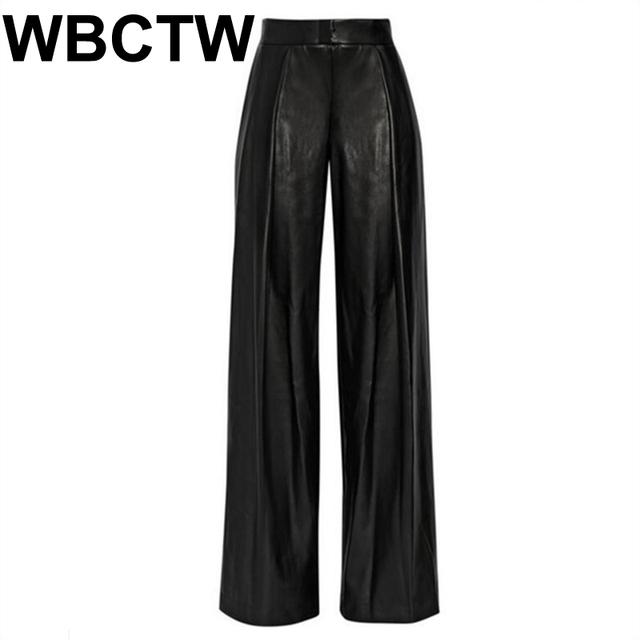 Plus Size 7XL Women PU Leather Pants Leggings Black Loose Trousers
