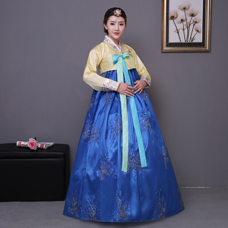 blue embroidery korean traditional dress pink women cotton