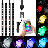 Car Styling Interior RGB 12LED Strip Light Atmosphere Decoration Lamp 12V Car Light Interior Light Android