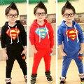 Новый 2016 детская одежда набор для весна/Осень 100% хлопок терри мальчик супермен костюм устанавливает толстовки/верхней одежды + брюки