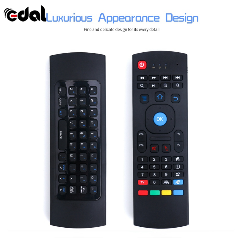 EDAL Wireless Keyboard for Smart TV Android TV Box KODI XBMC MXQ MX3 M8S+T8 QBox 2.4GHz Wireless Remote Control Fly Air Mouse fly e135 grey tv