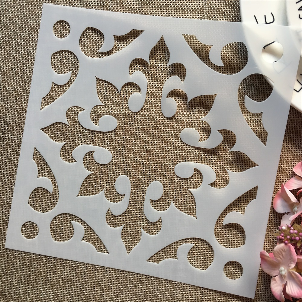 1Pcs 8*8inch Flower Square Background DIY Layering Stencils Painting Scrapbook Coloring Embossing Album Decorative Card Template