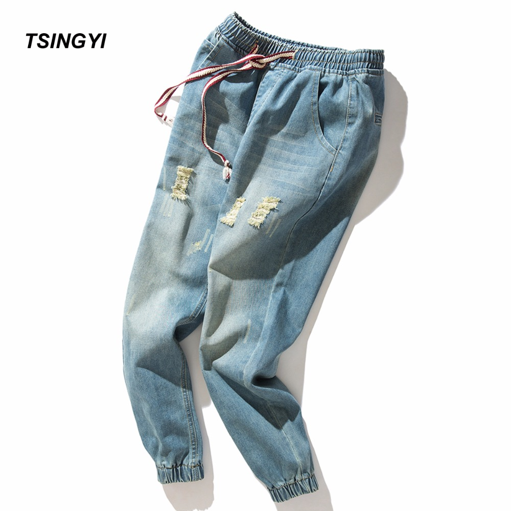 Tsingyi Oversize 4XL Retro Hole Jeans Men Distressed Harem Jeans Homme Bottom Feet Denim Cotton Harajuku Streetewar Full Pants