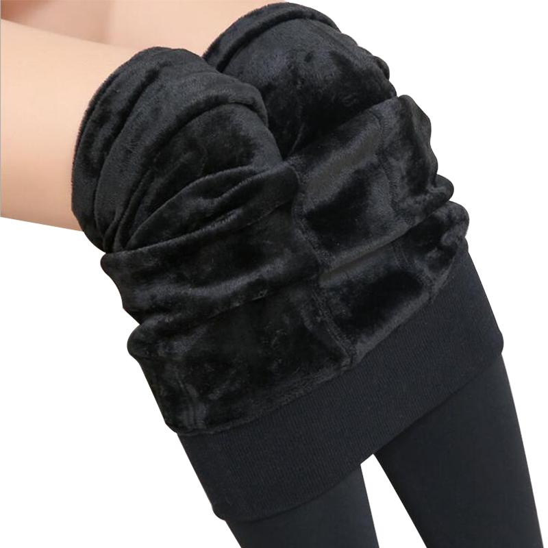 2019 Winter Warm Pants Women Plus Size High Waist   Leggings   Trousers Velvet Thick Solid Sexy Warm Super Elastic   Leggings